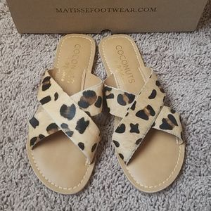 Leopard slip on sandals
